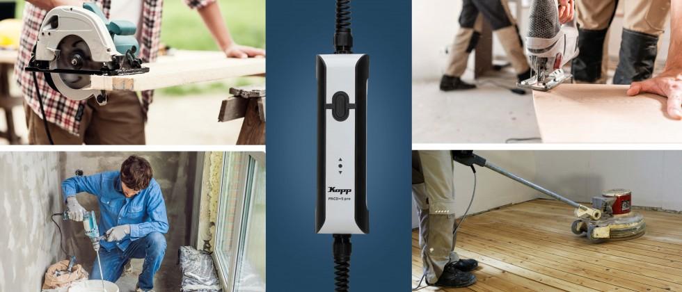 (Foto: Kopp) Die mobilen Personenschutzgeräte PRCD-S pro von Kopp machen den Alltag von Handwerkern und Installateuren noch sicherer.