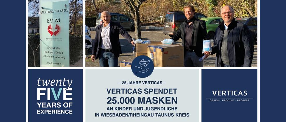 """(Foto: Verticas) Getreu dem Motto """"25 Jahre – 25.000 Masken"""" spendete Verticas zum Firmenjubiläum Alltagsmasken an EVIM und an eine Grundschule."""