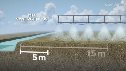 Synergen® OS reduziert die Abdrift. Dadurch lässt sich die landwirtschaftliche Nutzfläche erweitern.