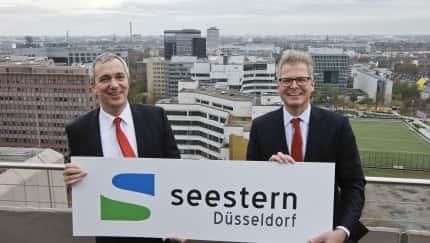 Dr. Udo Brockmeier, Vorstandsvorsitzender der Stadtwerke Düsseldorf AG (links) und Dirk Lindner, Vorsitzender der Standortinitiative Seestern Düsseldorf