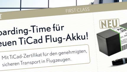 TiCad Flug-Akku für entspannteres Reisen