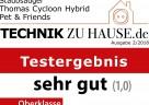 """Testsiegel """"sehr gut"""" für den THOMAS CYCLOON HYBRID Pet & Friends von Technik zu Hause"""